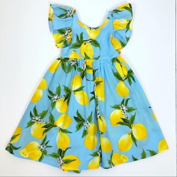 ef20ebcd45f Lemon Print Ruffle Flutter Sleeve Casual Dress